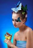 bodyart μοντέλο πεταλούδων Στοκ φωτογραφίες με δικαίωμα ελεύθερης χρήσης