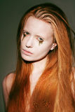 Bodyart. Face of Fanciful Red Hair Woman with Creative Stagy Art Make-up Royalty Free Stock Image