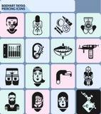 Bodyart Tatoo Piercing Icons Royalty Free Stock Photo