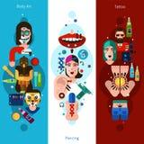 Bodyart Tattoo Piercing Vertical Banners Royalty Free Stock Photo