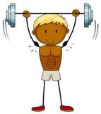 Bodybilder. Closeup muscular man lifting weights Royalty Free Stock Photography