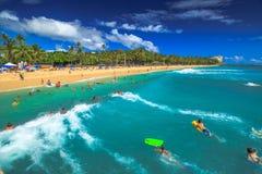 Bodyboard Waikiki Hawaï Images libres de droits
