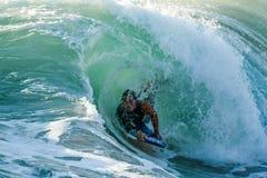Bodyboarder в действии Стоковое Фото