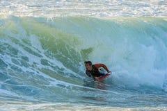 Bodyboarder в действии Стоковые Изображения