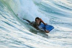 Bodyboarder в действии Стоковое Изображение