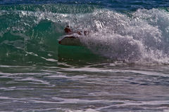 Bodyboarder / Boogieboarder in the Surf Royalty Free Stock Image