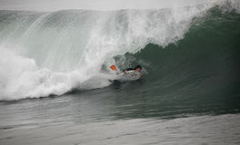 Bodyboarder In The Tunnel Royalty Free Stock Photography