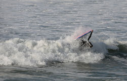 Bodyboarder inside the wave. With the board Stock Images