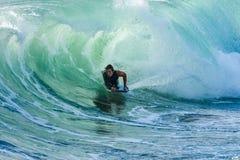Bodyboarder nell'azione Fotografia Stock
