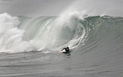 Bodyboarder and wave Stock Photo