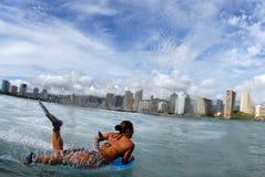 bodyboarderflicka Fotografering för Bildbyråer