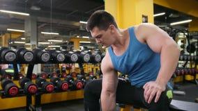 Bodybuilden in der Turnhalle - junger muskulöser Mann führt Training für Bizeps mit Dummköpfen durch stock footage