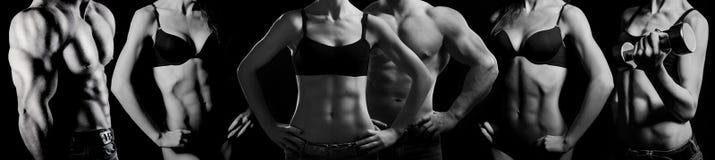 Bodybuilden. Mann und Frau Stockfoto