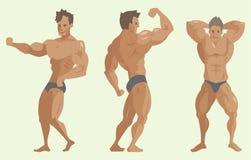 Bodybuilder αθλητικών τύπων διανυσματικός χαρακτήρων μυϊκός γενειοφόρος ατόμων πρότυπος θέτοντας bodybuilding αθλητισμός athlets  ελεύθερη απεικόνιση δικαιώματος