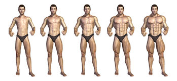 bodybuilder μετασχηματισμός βημάτων του s απεικόνιση αποθεμάτων