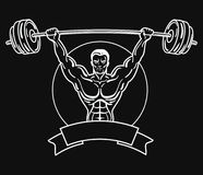 Bodybuilder με μια φίλαθλη διάπλαση Ένα άτομο με τους μυϊκούς μυς Γραπτό λογότυπο αθλητών Αθλητικό έμβλημα Κύριος Στοκ Φωτογραφία