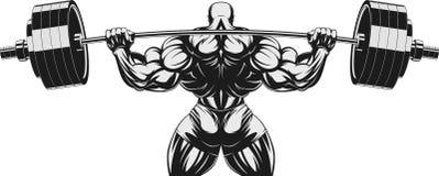 Bodybuilder με το barbell ν διανυσματική απεικόνιση