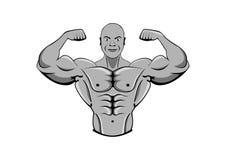 bodybuilder μυϊκός ισχυρός ατόμων αθλητής ή μαχητής απεικόνιση αποθεμάτων