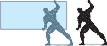 bodybuilder οθόνη εκμετάλλευσης διανυσματική απεικόνιση