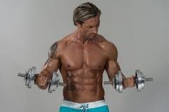 Bodybuilder που ασκεί τους δικέφαλους μυς με τους αλτήρες στο γκρίζο υπόβαθρο Στοκ Εικόνες