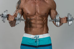 Bodybuilder που ασκεί τους δικέφαλους μυς με τους αλτήρες στο γκρίζο υπόβαθρο Στοκ Εικόνα