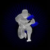 Bodybuilder που κατσαρώνει Dumbell Διανυσματική απεικόνιση