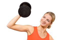 Bodybuilder. Picture of a gorgeous girl with heavy dumbbell isolated on white Royalty Free Stock Photo