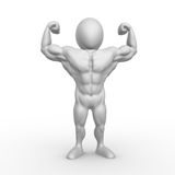 Bodybuilder. 3D character showing off his muscles Royalty Free Stock Images
