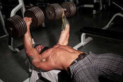 Bodybuilder. Lifting weights in a gym Stock Image