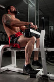 Bodybuilder. Working out in a gym Stock Photography