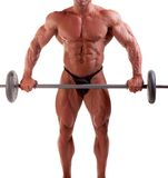Bodybuilder. Exercising in front of white background Royalty Free Stock Photography