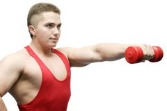 Bodybuilder. The young man lifts dumbbells on a white background Royalty Free Stock Photo