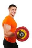 Άτομο Bodybuilder που κάνει τις ασκήσεις μυών δικέφαλων μυών Στοκ εικόνες με δικαίωμα ελεύθερης χρήσης