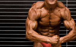 Bodybuilder. In front of wall stock photo