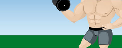 Bodybuilder. Against the background of nature Stock Photography