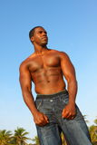 Bodybuilder alto che flette i muscoli Immagini Stock Libere da Diritti