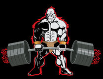 Bodybuilder Ape Mascot Character With A Barbell In His Hands. Royalty Free Stock Photo