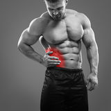 Bodybuilder Appendicitis attack. stock images