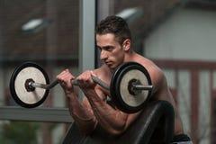 Bodybuilder-Ausführungsbizepscurle mit einem Barbell Lizenzfreie Stockfotos