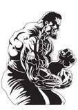 Bodybuilder avec les veines sur ses mains Photo libre de droits