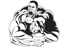 Bodybuilder avec ses mains serrées dans des poings Images libres de droits