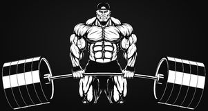 Bodybuilder avec un barbell Image stock