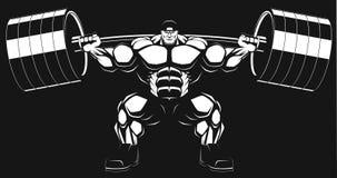 Bodybuilder avec un barbell Photos stock