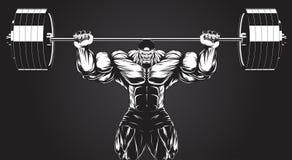 Bodybuilder avec un barbell Photographie stock libre de droits