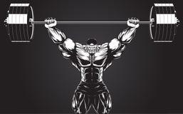 Bodybuilder avec un barbell Images libres de droits