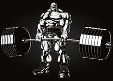 Bodybuilder avec un barbell Photo stock