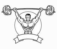 Bodybuilder avec un physique sportif Un homme avec les muscles musculaires Logo noir et blanc d'athlète Emblème de sports Maître  Photos libres de droits