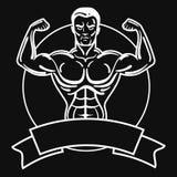 Bodybuilder avec un physique sportif Un homme avec les muscles musculaires Logo noir et blanc d'athlète Emblème de sports Maître  Images stock