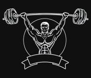 Bodybuilder avec un physique sportif Un homme avec les muscles musculaires Logo noir et blanc d'athlète Emblème de sports Maître  Photographie stock