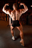 Bodybuilder back demonstrates his muscles Stock Photos